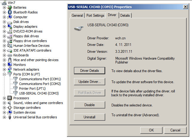 CH340 windows 7 driver details when installed