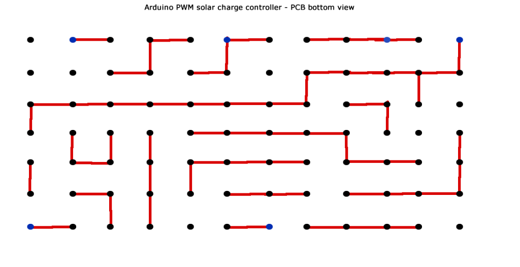 Arduino PWM solar charge controller PCB bottom view